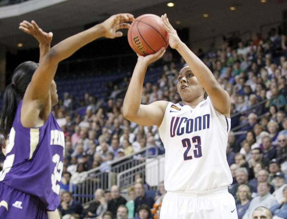 Mar 17, 2012; Bridgeport, CT, USA; Connecticut Huskies forward Kaleena Mosqueda-Lewis (23) shoots the ball against Prairie View A&M Lady Panthers forward Kiara Etienne (32) during the first half in the first round of the 2012 NCAA women's basketball tournament at Arena at Harbor Yard.  Mandatory Credit: David Butler II-US PRESSWIRE Photo: US PRESSWIRE / David Butler II