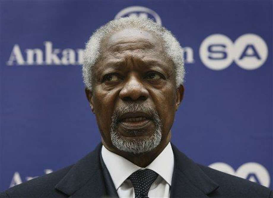 U.N. peace envoy Kofi Annan speaks to the media after a meeting Tuesday with Syrian National Council members in Ankara, Turkey. Annan expressed deep concern Monday over the violence in Syria and urged the world to send a clear message to Damascus that the killing of civilians must stop immediately.  Associated Press Photo: ASSOCIATED PRESS / AP2012
