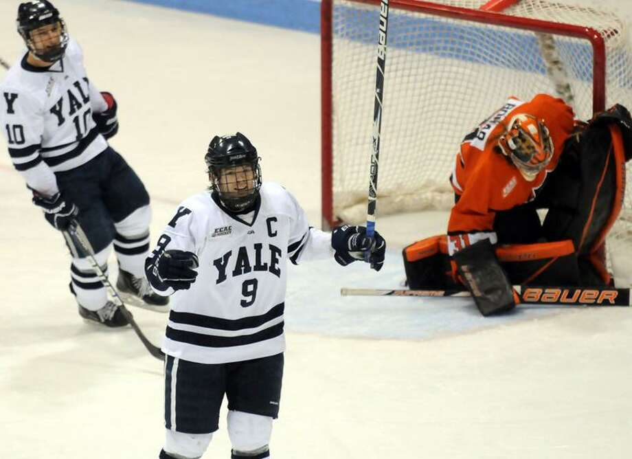 Yale coach Keith Allain says he could make the argument that senior captain Brian O'Neill (9) is the greatest player in Yale history. Photo by Mara Lavitt/New Haven Register  3/4/12