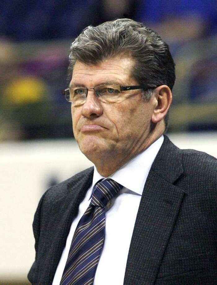 February 21, 2012; Pittsburgh,PA, USA: Connecticut Huskies head coach Geno Auriemma reacts on the sidelines against the Pittsburgh Panthers during the second half at the Petersen Events Center. UConn won 86-37. Mandatory Credit: Charles LeClaire-USPRESSWIRE Photo: US PRESSWIRE / Charles LeClaire