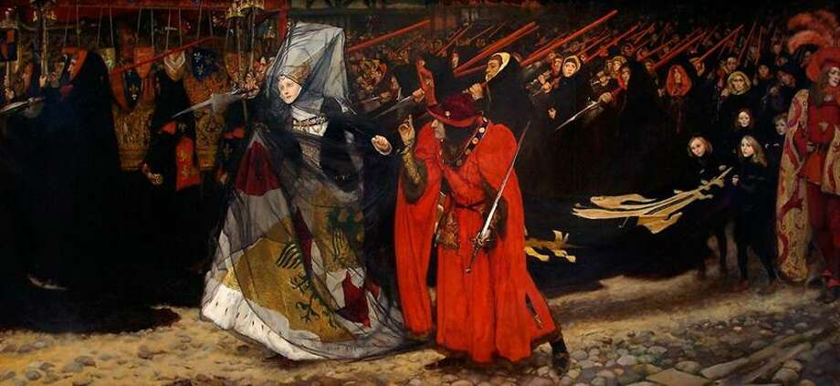 "YUAG photo: American painter Edwin Austin Abbey's painting ""Richard, Duke of Gloucester, and the Lady Anne,"" of a scene from ""Richard II,"" and its preliminary study sketches are on exhibit at the Yale University Art Gallery Tuesday through June 10."