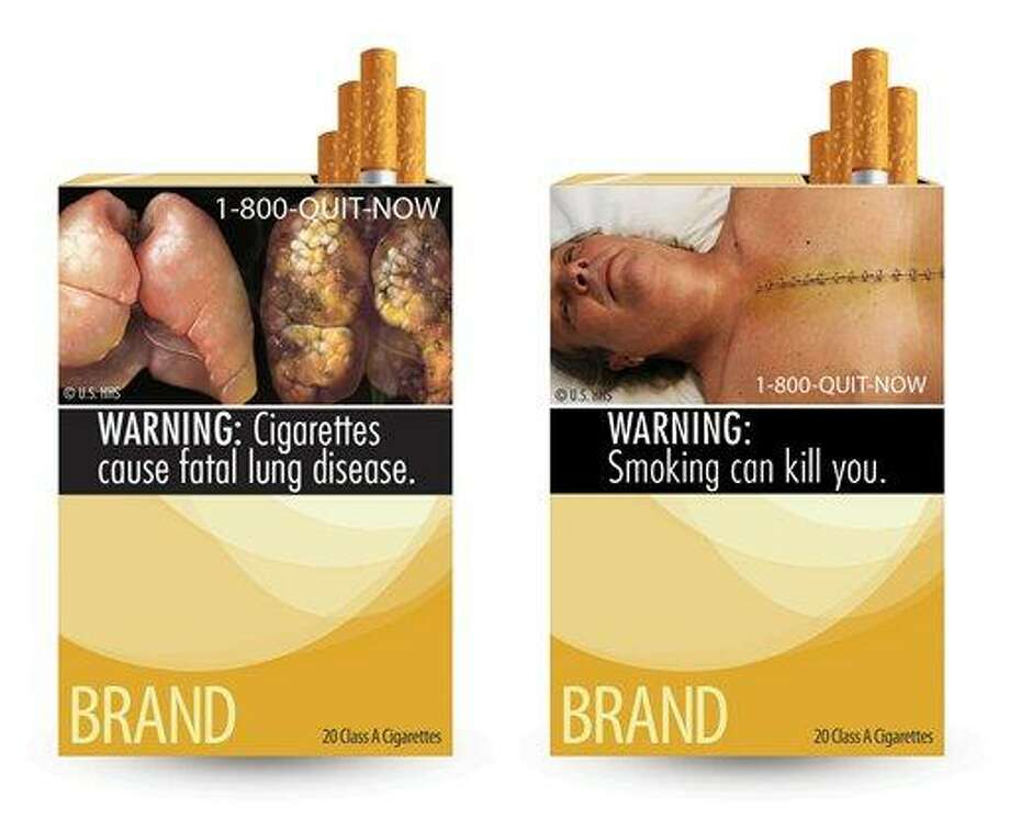 This combination photo made from file images provided by the U.S. Food and Drug Administration shows two of nine cigarette warning labels from the FDA. A judge on Feb. 29 blocked the federal requirement that would have begun forcing U.S. tobacco companies to put large, graphic, warning images on their cigarette packages later this year.   Associated Press Photo: AP / AP2011