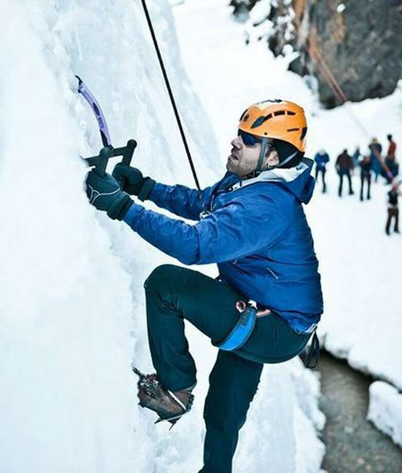Mike Reddy ice climbing. Photo by Malcolm Daly
