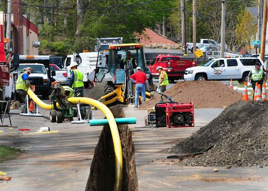 Scene of a gas line leak Monday on Amity Road in Woodbridge. Melanie Stengel/Register