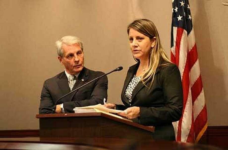 State Victim Advocate Michelle Cruz and state Sen. Len Suzio