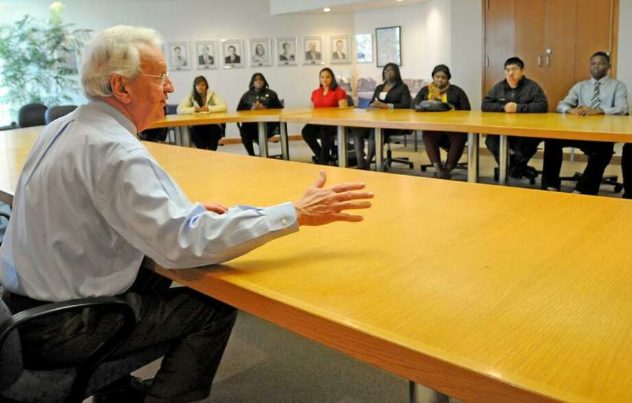 Anthony Rescigno, president of the Greater New Haven Chamber of Commerce, meets with a class from Career High School visiting the chamber to learn about business. Photo by Peter Hvizdak/Register Photo: New Haven Register / ©Peter Hvizdak /  New Haven Register