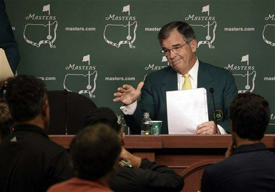 Chairman of Augusta National Golf Club Billy Payne responds to a question during a news conference before the Masters golf tournament Wednesday, April 4, 2012, in Augusta, Ga. (AP Photo/Matt Slocum) Photo: AP / AP