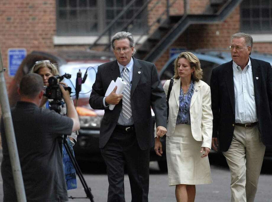 Dr. William Petit Jr. makes his way into court with family for the second day of the Steven Hayes trial, followed on right by sister Johanna Chapman. Photo byPeter Casolino