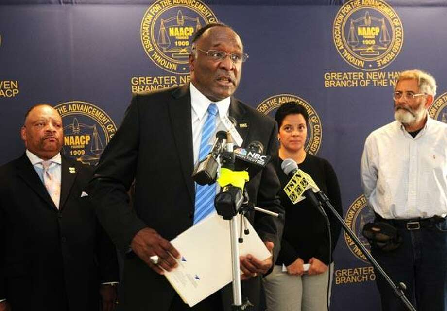 NAACP of Greater New Haven President James Rawlings addresses the media Friday afternoon at NAACP headquarters about the One Nation March to be held in Washington DC on October 2nd. (Brad Horrigan/Register)