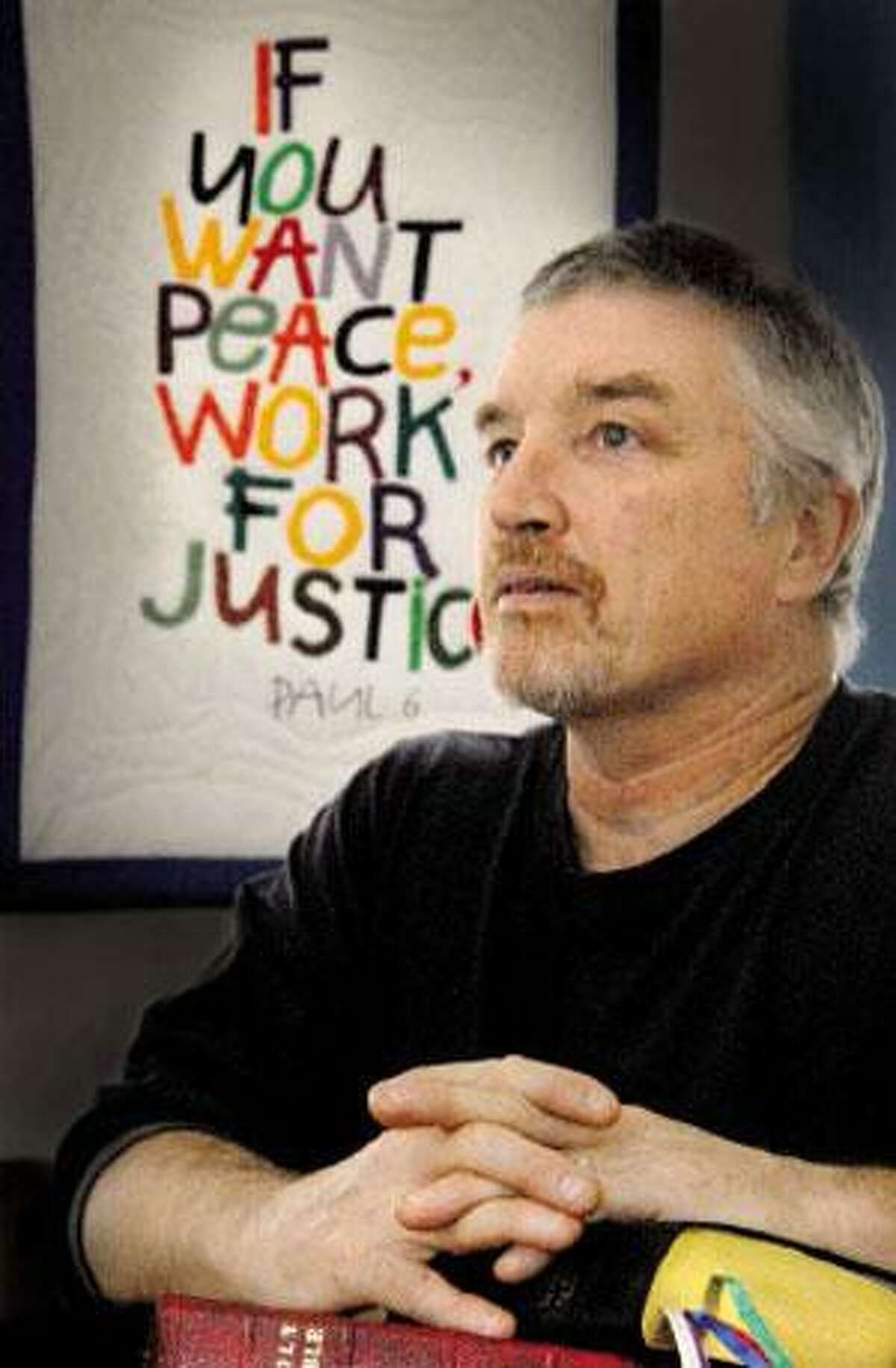 New Haven peace activist Mark Colville is in the Middle East to speak to war victims. (Melanie Stengel/Register)