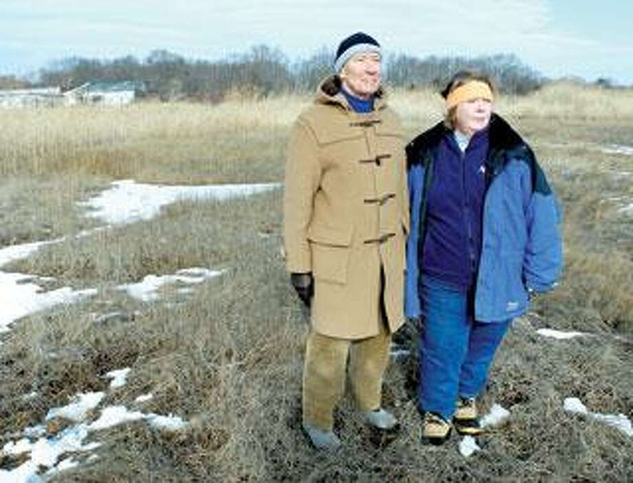 Dr. Bill McCullough, left, and Sandy Breslin, director of governmental affairs for Audubon Connecticut, hope to prevent development of the Griswold Airport property in Madison. (Arnold Gold/Register)