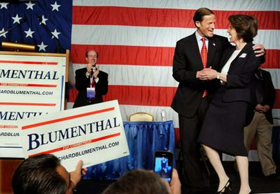 Richard Blumenthal and his wife after his acceptance speech at the Democratic State Convention. (Melanie Stengel/Register)