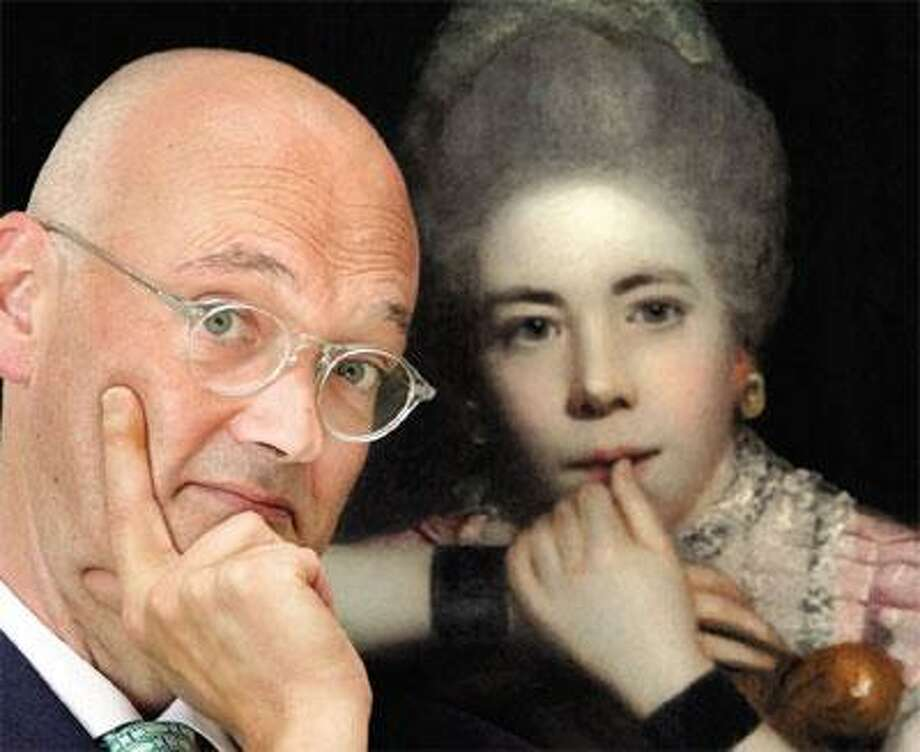 """Angus Trumble, Yale Center for British Art curator of paintings and sculpture, has written a book on the finger and its depictions in history and culture. He's photographed here in the YCBA with Sir Joshua Reynolds' 18th-century portrait """"Mrs. Abington as Miss Prue."""" (Mara Lavitt/Register)"""