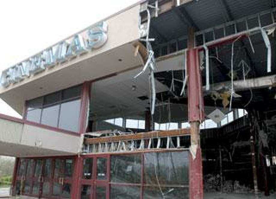 The partially demolished Orange Showcase Cinemas building. (Melanie Stengel/Register photos)