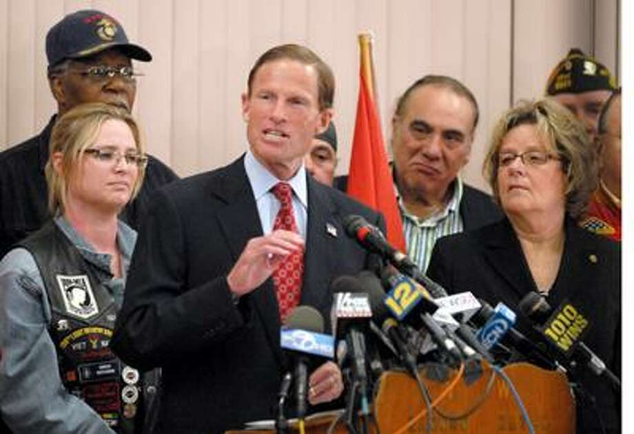 """Attorney General and U.S. Senate candidate Richard Blumenthal on Tuesday said he had """"misspoken"""" in claiming more than once that he served in Vietnam, dismissing the furor that threatened to endanger a seemingly safe Democratic seat as a matter of """"a few misplaced words.""""  Blumenthal spoka at a news conference backed by veterans at the Hannon-Hatch VFW Post 9929 in West Hartford. (PETER HVIZDAK /Register)"""
