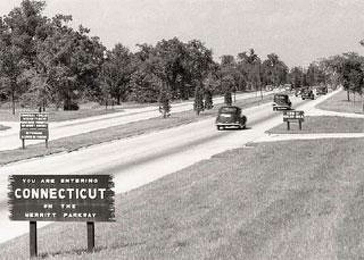 Those were the days: Cars travels on the Merritt Parkway in Greenwich in the late 1930s. (Contributed photo)