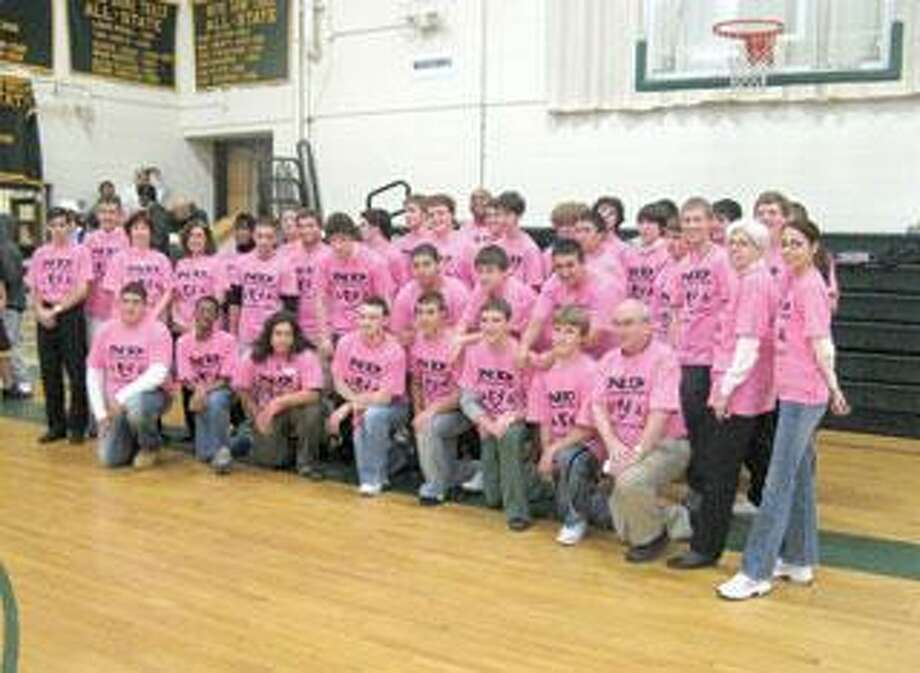 Way to go, guys. Notre Dame of West Haven's student council raised $3,440 for the Connecticut Breast Cancer Coalition and the Susan G. Komen for the Cure Foundation. (Steve Kirck/Notre Dame High School)