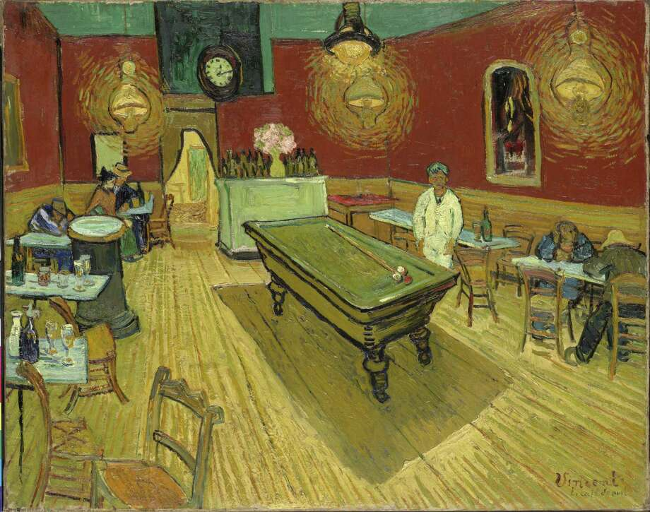 """In this photo provided by Yale University, an 1888 oil painting entitled """"Night Cafe"""" by impressionist Vincent Van Gogh is shown. The painting is at the center of a lawsuit between the university and Pierre Konowaloff of France, who claims ownership of the work by stating in recent court papers that Russian authorities in the 1917 revolution unlawfully confiscated the painting owned by Konowaloff's ancestor and that the United States deemed the theft a violation of international law. (AP Photo/Vincent Van Gogh) Photo: AP / YALE UNIVERSITY"""