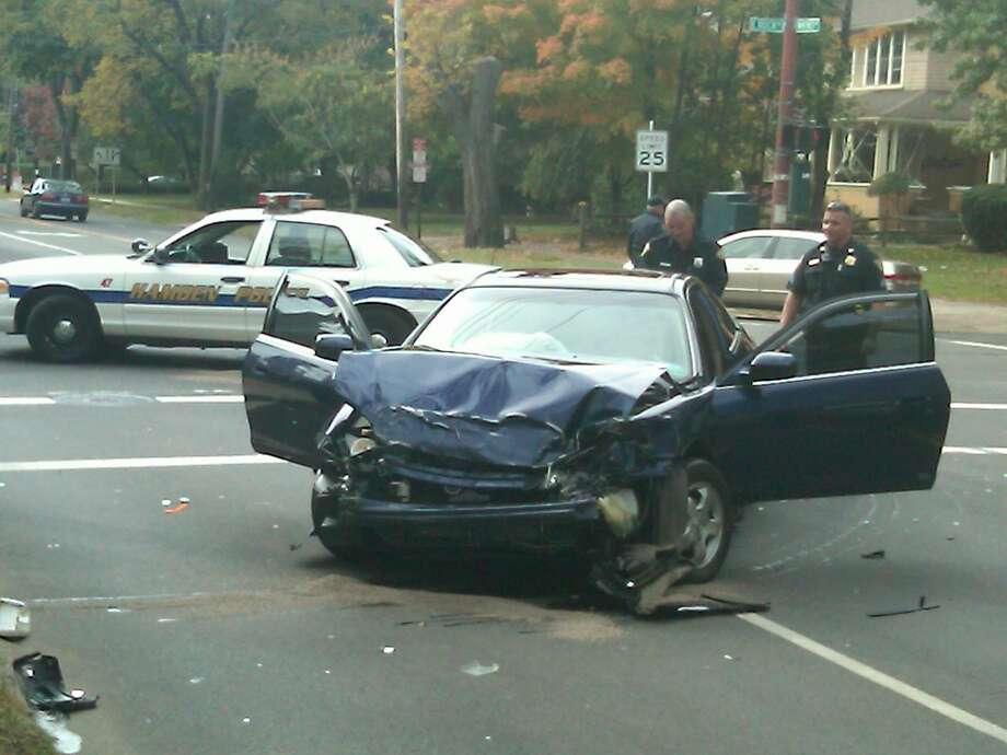 The scene of an accident on Whitney Avenue in New Haven Wednesday  Photo by William Kaempffer