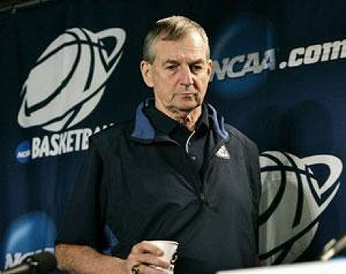 Connecticut head coach Jim Calhoun arrives at a news conference at the NCAA college basketball tournament in Philadelphia, Friday, March 20, 2009. Connecticut will play Texas A&M in round-two at the tournament Saturday, March 21. (AP Photo/CMel Evans)