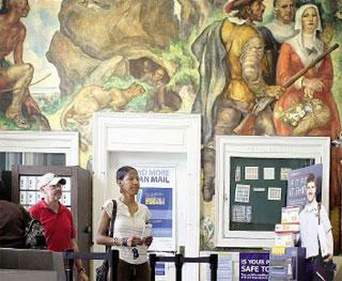 The Westville post office, which could be closed, features a Great Depression-era mural. (Peter Casolino/Register)