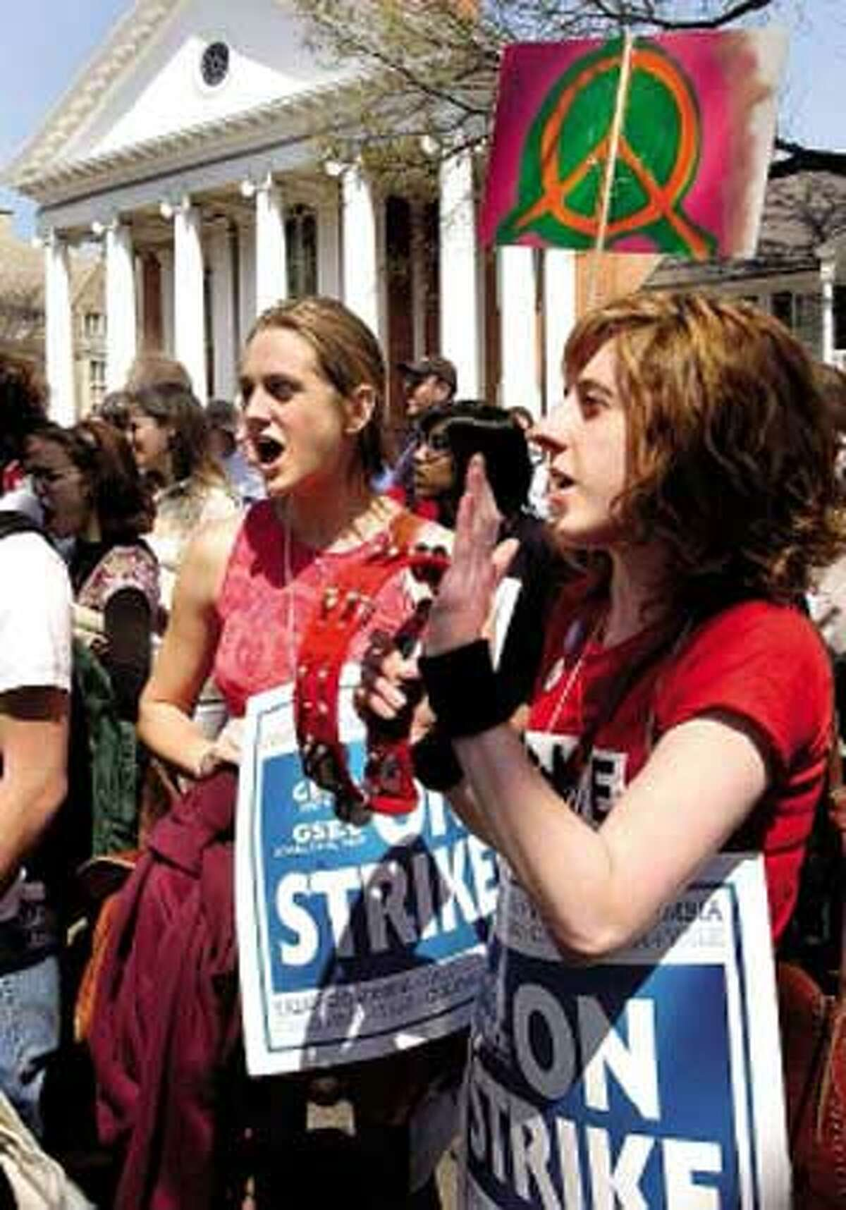 Yale graduate students Julia Irwin and Kirsten Weld take part in a union rally in New Haven.