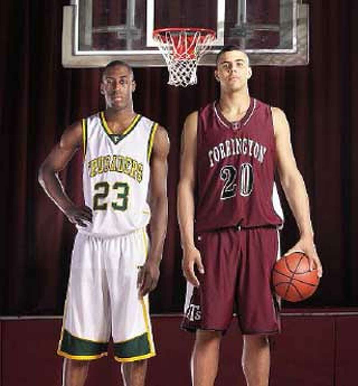 When looking for the best high school basketball players in Connecticut, you don't have to look any further than Trinity Catholic's Tevin Baskin, left, and Torrington's Jordan Williams. (Peter Casolino/Register)