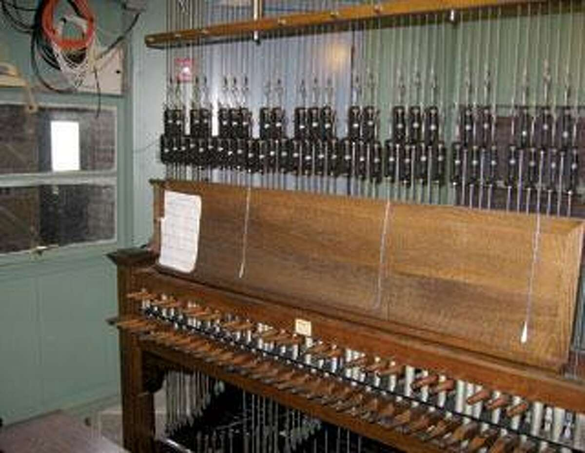 At this console, carillonneurs strike the batons and pedals to move the bells' clappers. (Yale University Guild of Carillonneurs)