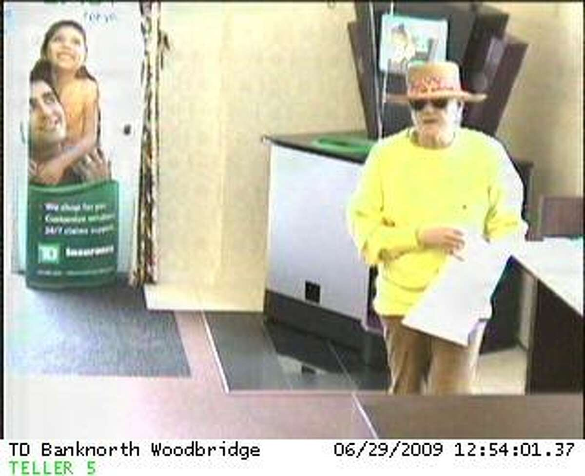This is one of the bank surveillance police released as part of their investigation into a June 29 robbery at TD Banknorth, 128 Amity Road. The suspect is a man, 50-60 years old, police said.