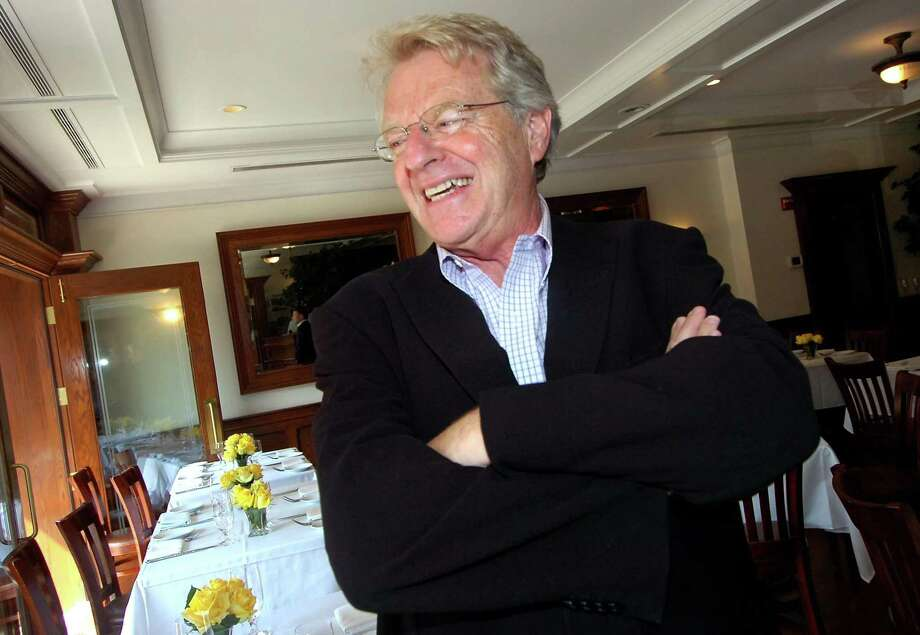 Jerry Springer enjoys a laugh after having lunch at Ferrante in Stamford Thursday, Aug. 6, 2009 his television show will be produced in town and begins taping on Monday. (AP Photo/Photo/Alex von Kleydorff) Photo: ASSOCIATED PRESS / AP2009