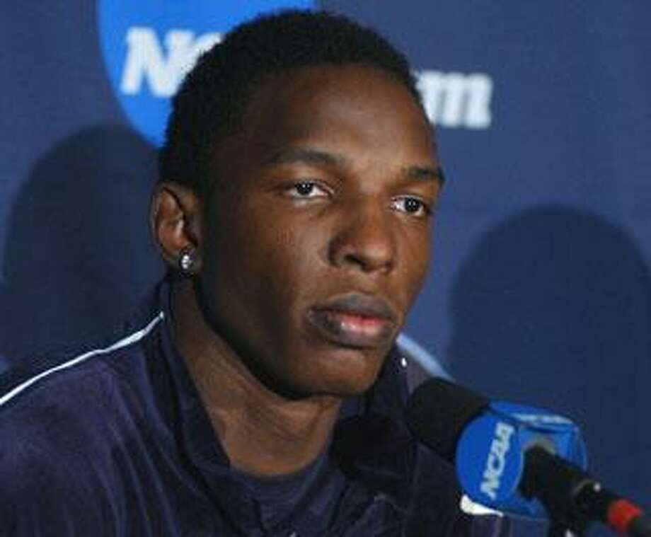 UConn center Hasheem Thabeet answers queations from the media on Thursday. (Jose Juarez/Special to the Register)