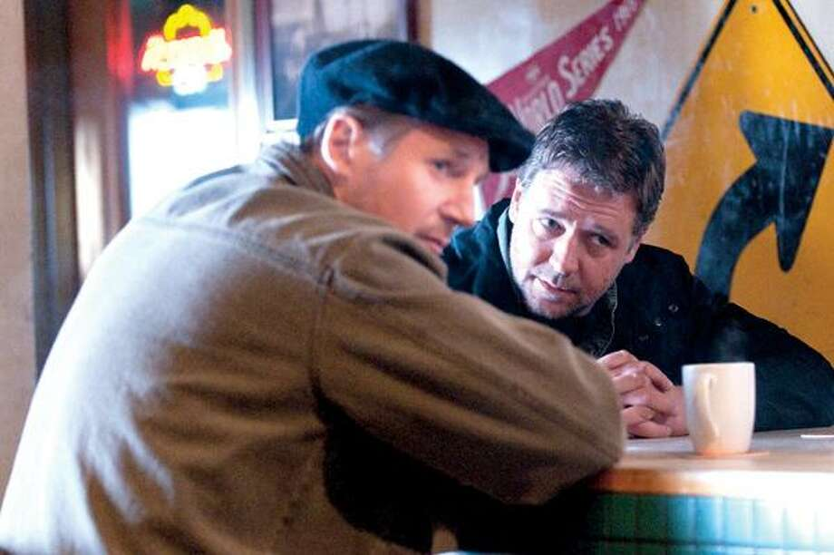 "Phil Caruso Lionsgate photo, Liam Neeson, left, and Russell Crowe in a scene from ""The Next Three Days."""