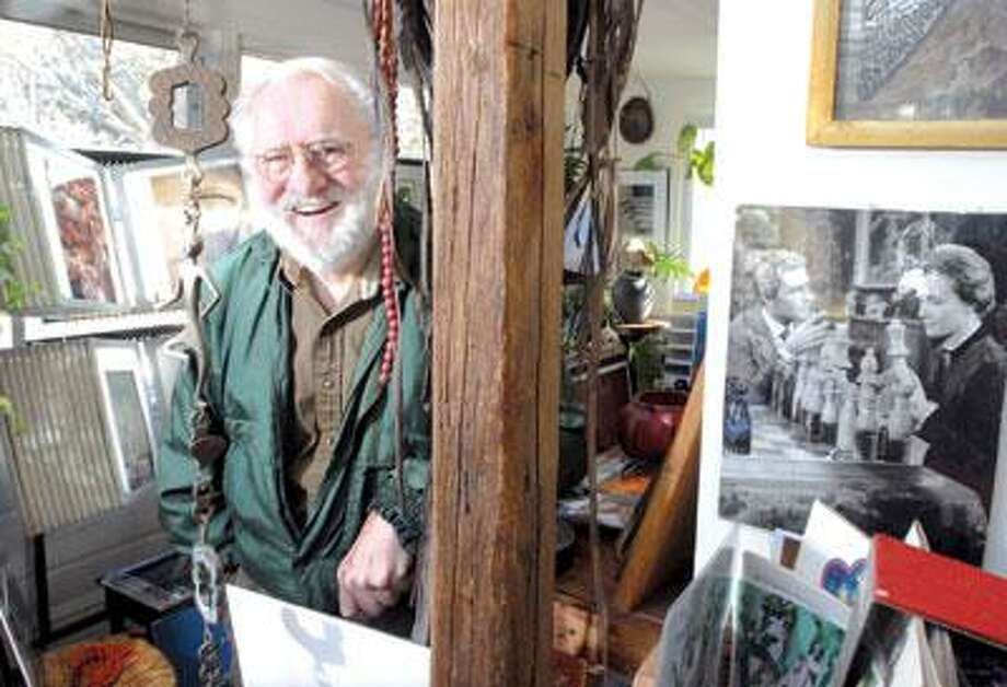 Peter Walker in his Chester home office surrounded by his art and mementos from his acting career. (Mara Lavitt/Register)