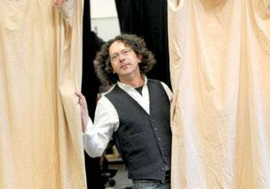 """Director Christopher Bayes at rehearsal for Yale Rep's """"The Servant of Two Masters,"""" opening Friday. (Mara Lavitt/Register photos)"""