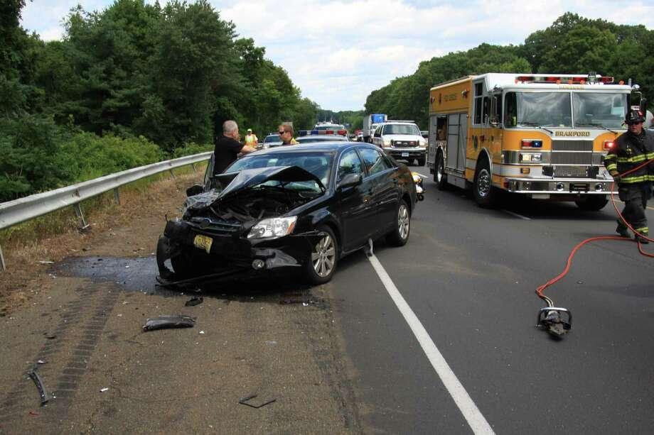 Scene of crash. Photo courtesy Branford Fire Department.