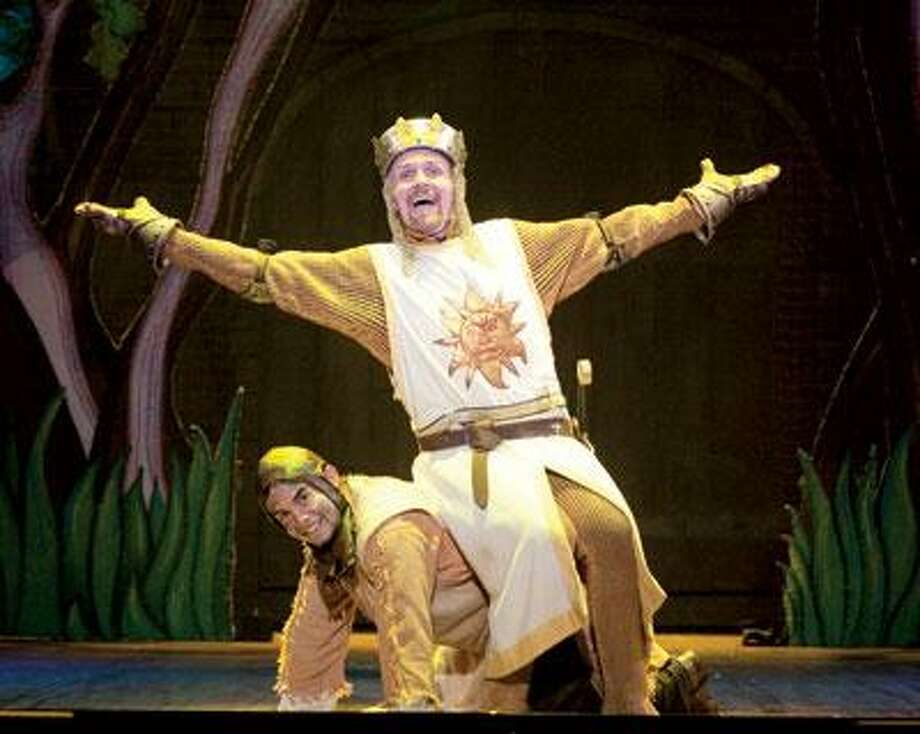Steve McCoy, above, as bumbling King Arthur, here  with Glenn Giron, says the cast is excited to play the historic Shubert. (Scott Suchman photos)
