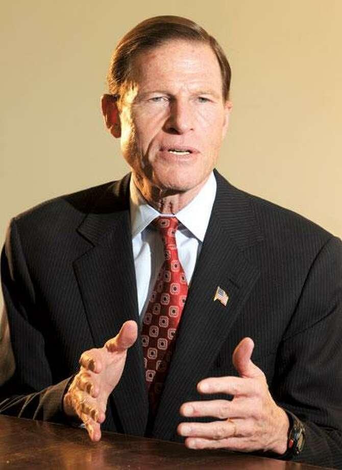 U.S. Sen.- elect Richard Blumenthal visits at the New Haven Register last week. (Peter Hvizdak/Register)