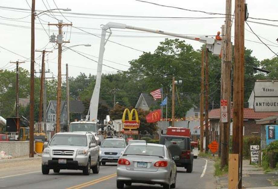 Construction project on Whalley Ave. looking from Dayton Street towards Emerson Street. Whalley Ave. will be realigned to the west with one lane in each direction  beginning 9A.M. Thursday. (PETER HVIZDAK/Register)