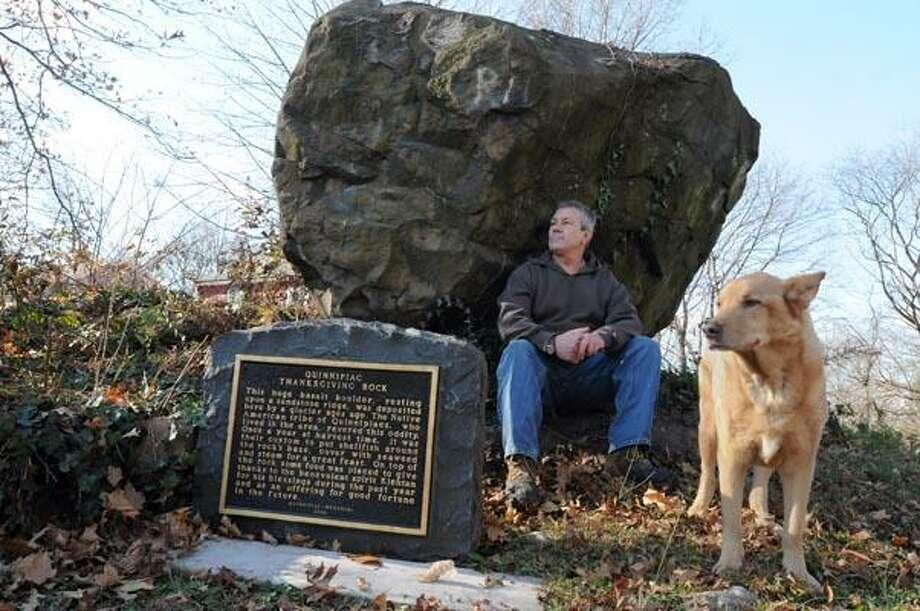 Roger Donahue of Meriden by Quinnipiac Thanksgiving Rock in New Haven. (Peter Hvizdak/New Haven Register)