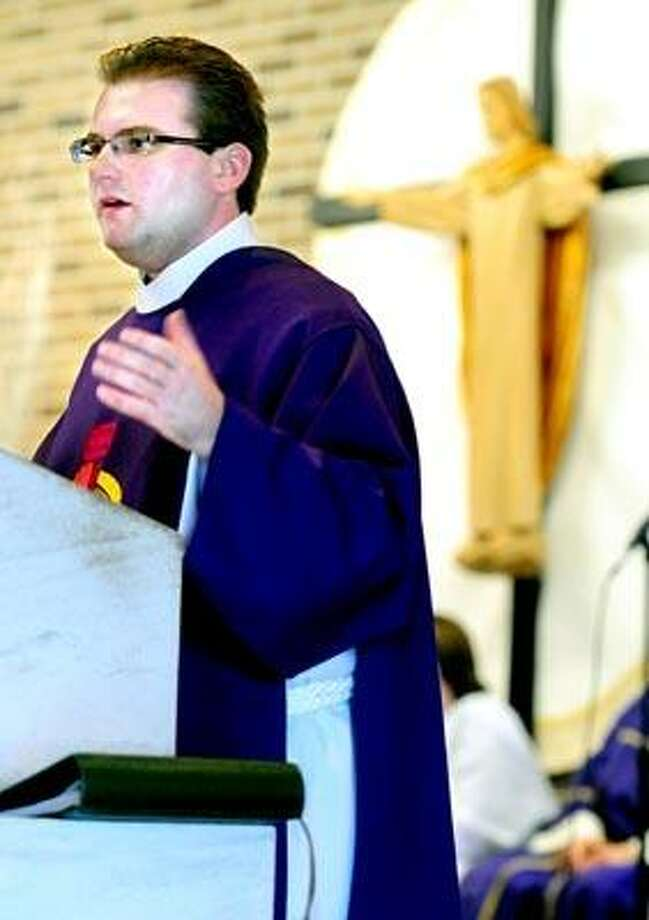 After being ordained as a deacon this month, the Rev. Robert Turner delivered his first homily at the Church of the Good Shepherd in Seymour. Photo by Arnold Gold