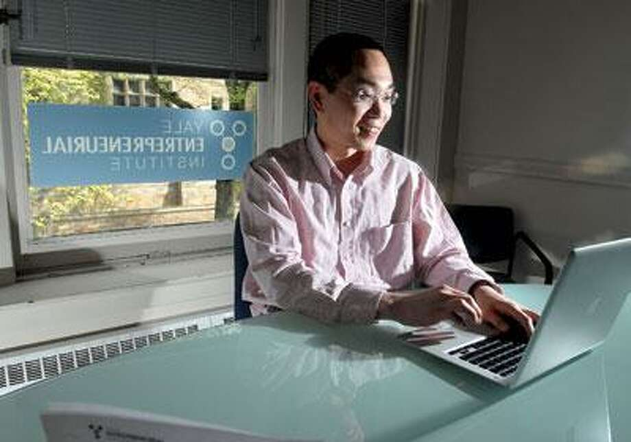 James Park, co-founder of Gurufi, helped build a program that connects college-bound students to editors who can help critique college admissions essays. The startup has been supported by the Yale Entrepreneurial Institute. (Brad Horrigan/Register)