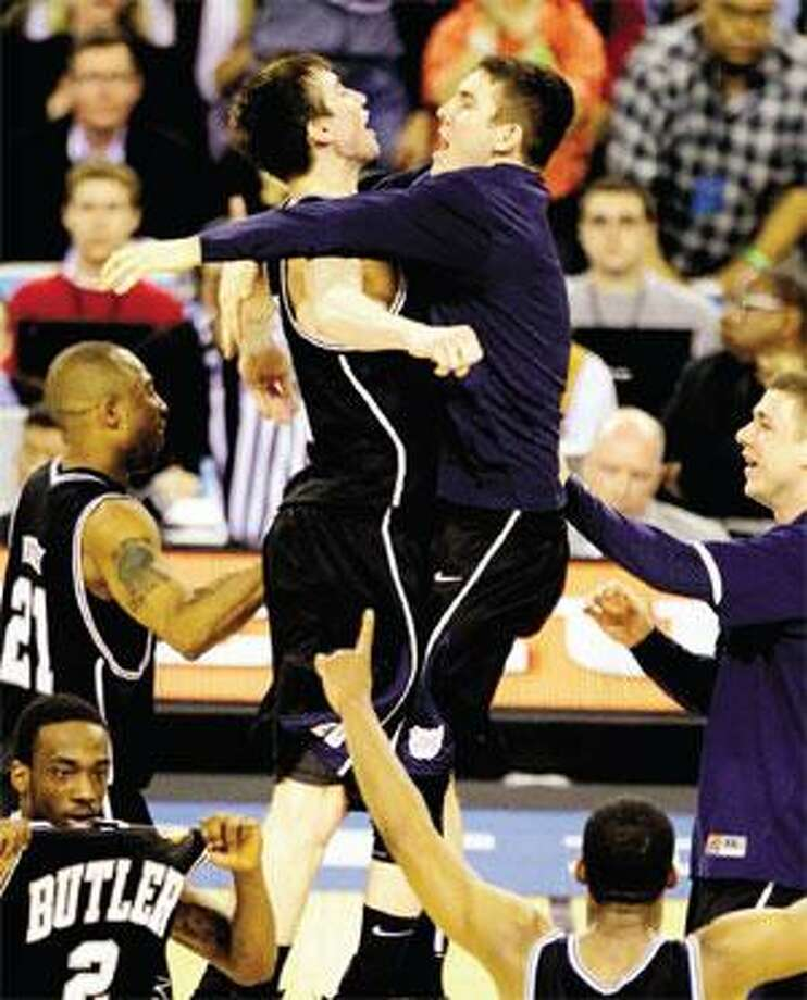 Butler celebrates after defeating fellow fifth seed Michigan State 52-50 in the national semifinals Saturday in Indianapolis. (Associated Press)