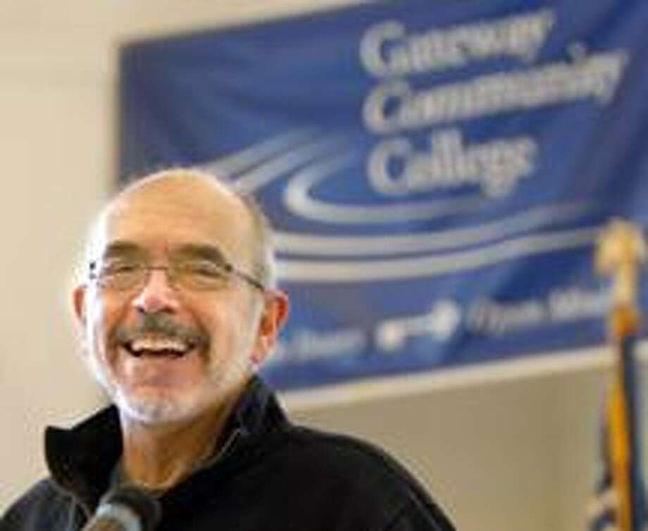 Author Wally Lamb addresses students at Gateway Community College in New Haven. (Mara Lavitt/Register)