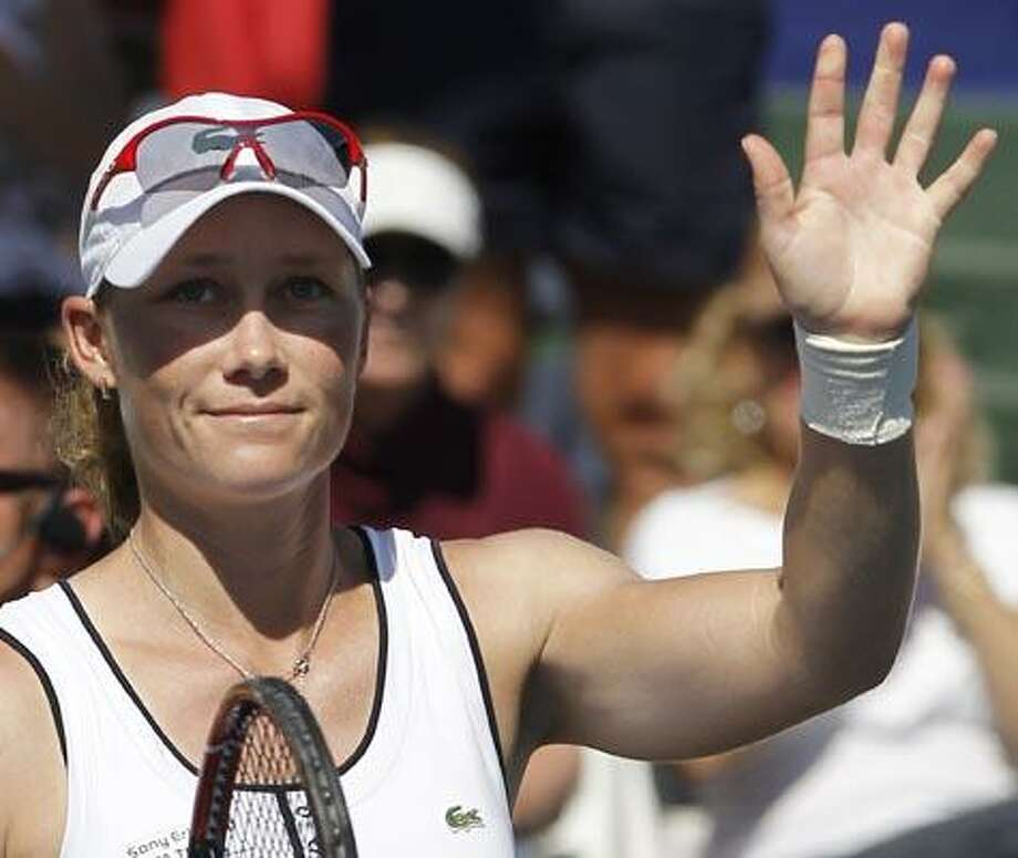 Samantha Stosur, of Australia, waves after her win against Melanie Oudin during the Mercury Insurance Open tennis tournament in Carlsbad, Calif., Wednesday, Aug. 4, 2010. (AP Photo/Chris Carlson) Photo: AP / AP