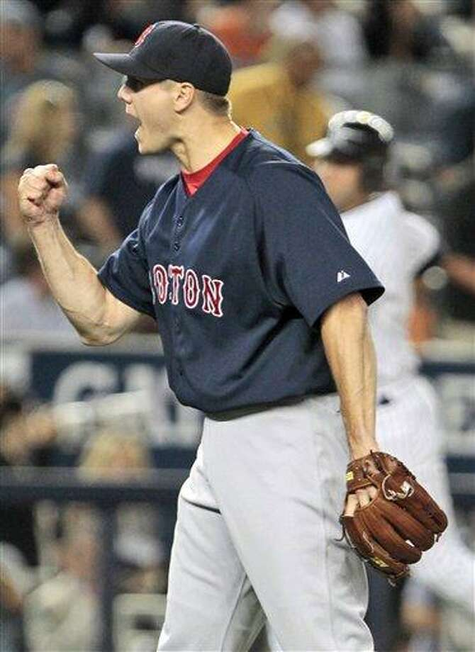 Boston Red Sox relief pitcher Jonathan Papelbon reacts after the final out of a baseball game against the New York Yankees, Friday, Aug. 6, 2010, in New York. The Red Sox won the game 6-3. (AP Photo/Frank Franklin II) Photo: AP / AP