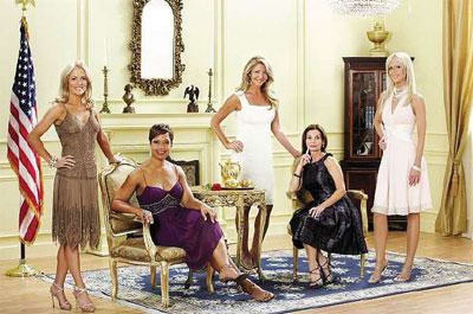 "Catherine Ommanney, left, Stacie Turner, Mary Amons, Lynda Erkiletian and Michaele Salahi in ""The Real Housewives of D.C."" (Stephen Boitano photos/Bravo)"