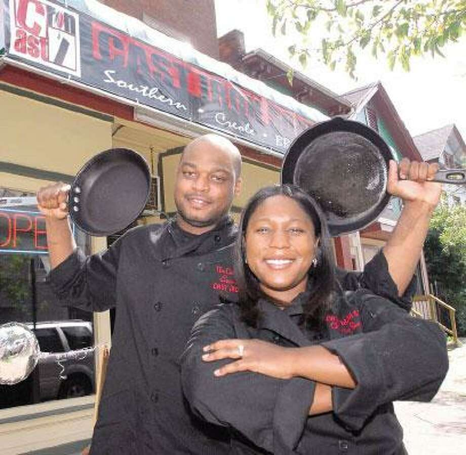 Stephen Ross and Shayla Crawford, owners of the Cast Iron Soul restaurant at 550 Congress Ave., New Haven. (Peter Hvizdak/Register)
