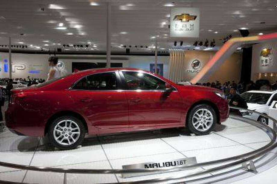 A Chevrolet Malibu 1.6T is displayed at the Beijing International Automotive Exhibition in Beijing, China, April 24, 2012. (AP Photo/Alexander F. Yuan) Photo: ASSOCIATED PRESS / AP2012