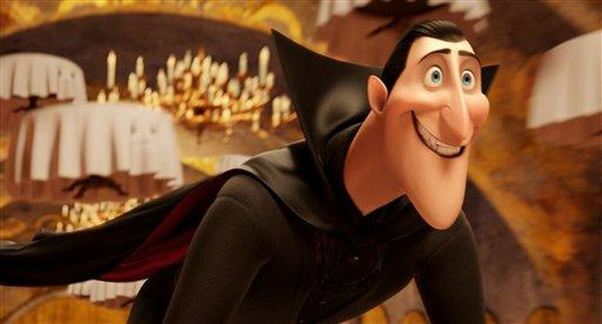 This image released by Sony Pictures shows Dracula, voiced by Adam Sandler, in a scene from