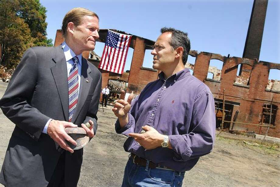 @CAvaloneMP  5.31.12   Senator Richard Blumenthal  picked up a few bells while touring the bell factory at Bevin Brother's Manufacturing Thursday morning. The 130 year old structure was destroyed by fire Saturday night.